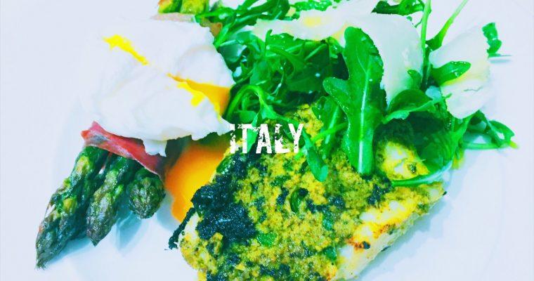 Italian pesto crusted Cod with Asparagus in Parma ham | Bacalao con pesto y espárragos en jamón de Parma | What is the national dish of Italy?